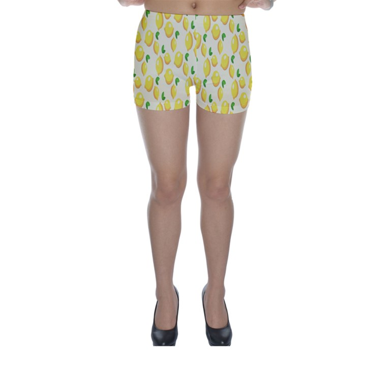 Pattern Template Lemons Yellow Skinny Shorts