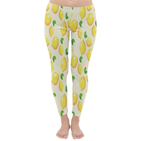 Pattern Template Lemons Yellow Winter Leggings