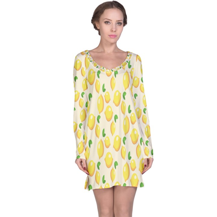 Pattern Template Lemons Yellow Long Sleeve Nightdress