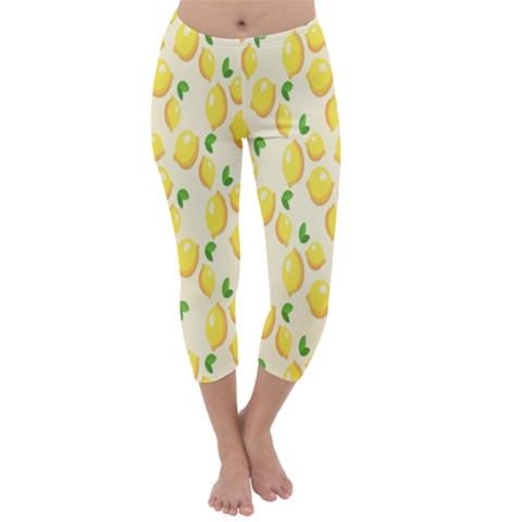Pattern Template Lemons Yellow Capri Winter Leggings