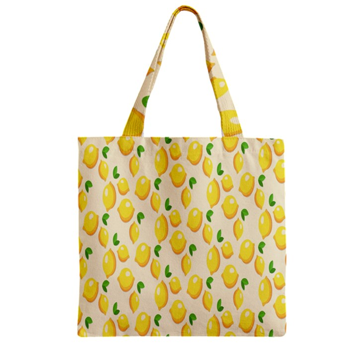 Pattern Template Lemons Yellow Zipper Grocery Tote Bag