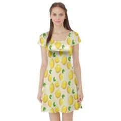 Pattern Template Lemons Yellow Short Sleeve Skater Dress