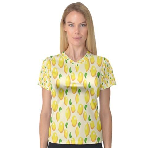 Pattern Template Lemons Yellow Women s V-Neck Sport Mesh Tee