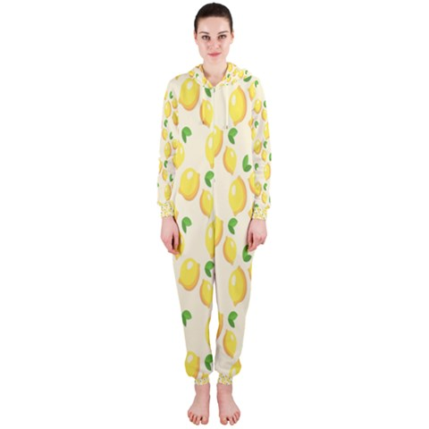 Pattern Template Lemons Yellow Hooded Jumpsuit (Ladies)