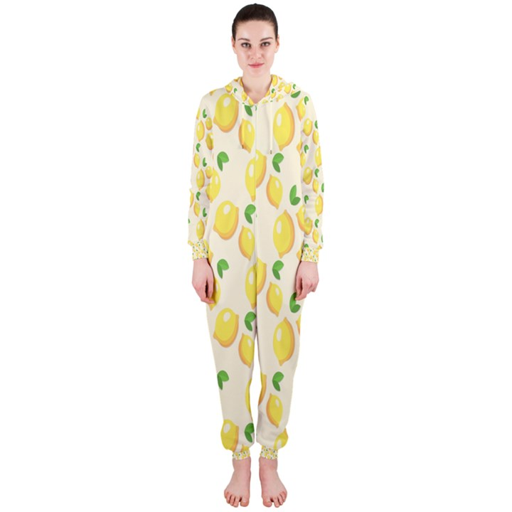 Pattern Template Lemons Yellow Hooded Jumpsuit (Ladies)