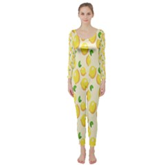 Pattern Template Lemons Yellow Long Sleeve Catsuit