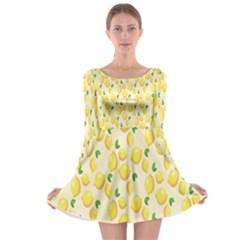 Pattern Template Lemons Yellow Long Sleeve Skater Dress