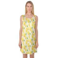 Pattern Template Lemons Yellow Sleeveless Satin Nightdress