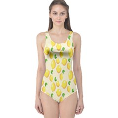 Pattern Template Lemons Yellow One Piece Swimsuit