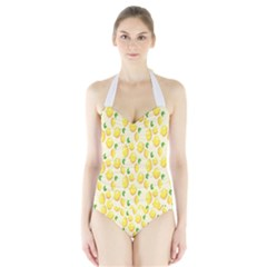 Pattern Template Lemons Yellow Halter Swimsuit