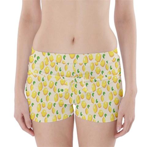 Pattern Template Lemons Yellow Boyleg Bikini Wrap Bottoms