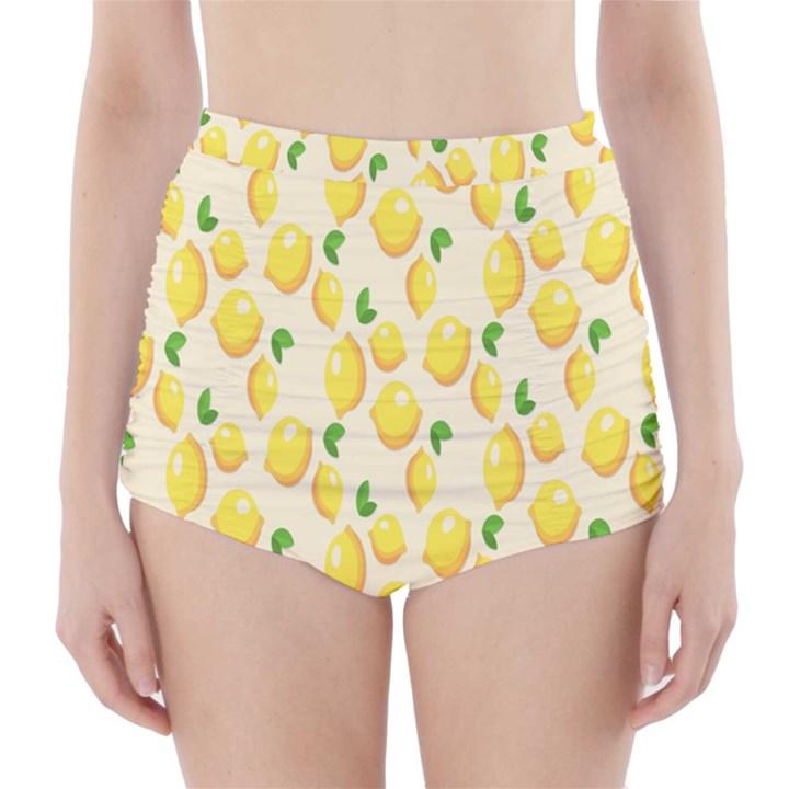 Pattern Template Lemons Yellow High-Waisted Bikini Bottoms
