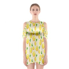Pattern Template Lemons Yellow Cutout Shoulder Dress
