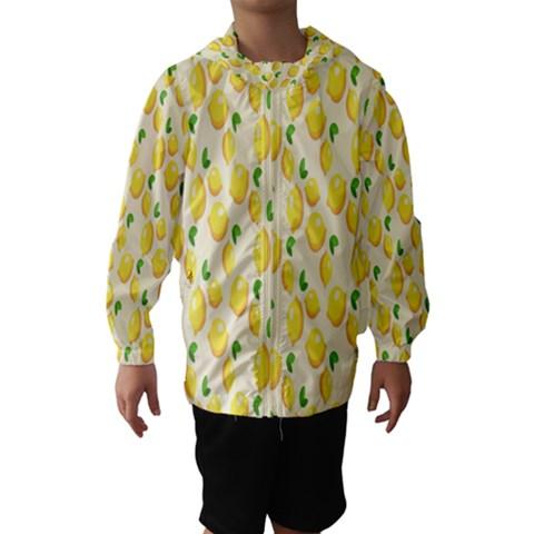 Pattern Template Lemons Yellow Hooded Wind Breaker (Kids)