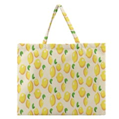 Pattern Template Lemons Yellow Zipper Large Tote Bag