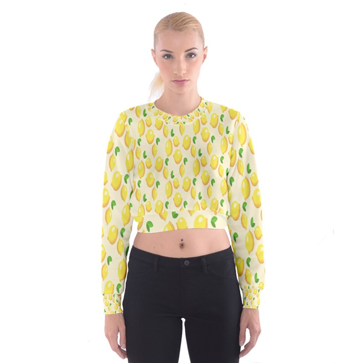 Pattern Template Lemons Yellow Women s Cropped Sweatshirt