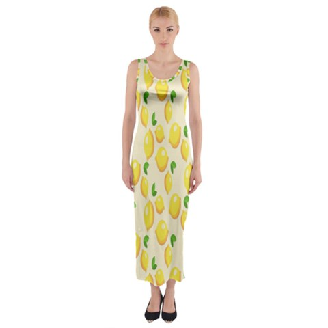 Pattern Template Lemons Yellow Fitted Maxi Dress