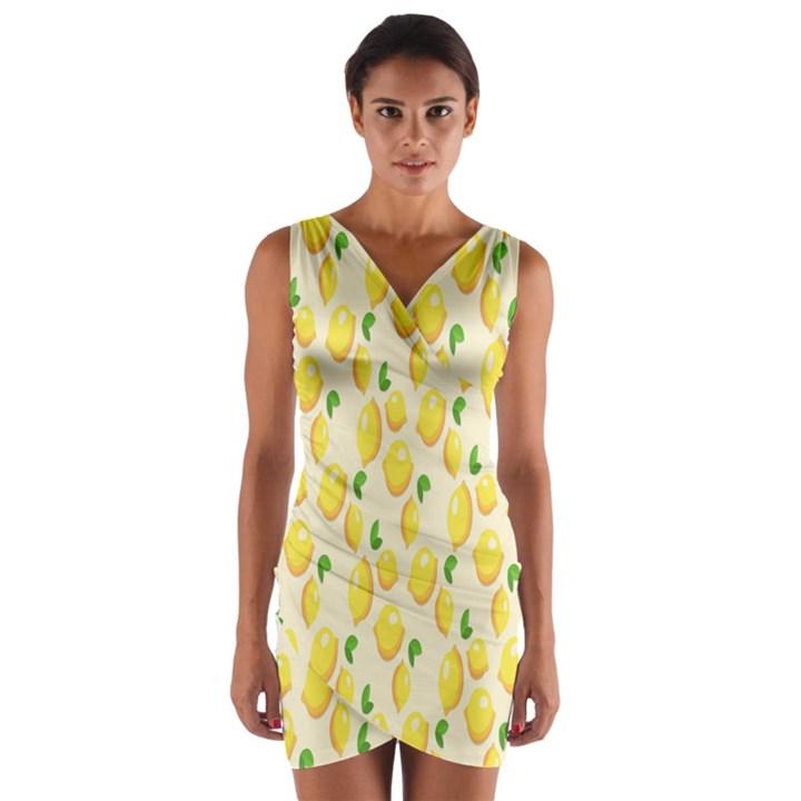 Pattern Template Lemons Yellow Wrap Front Bodycon Dress