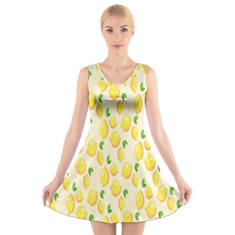 Pattern Template Lemons Yellow V-Neck Sleeveless Skater Dress
