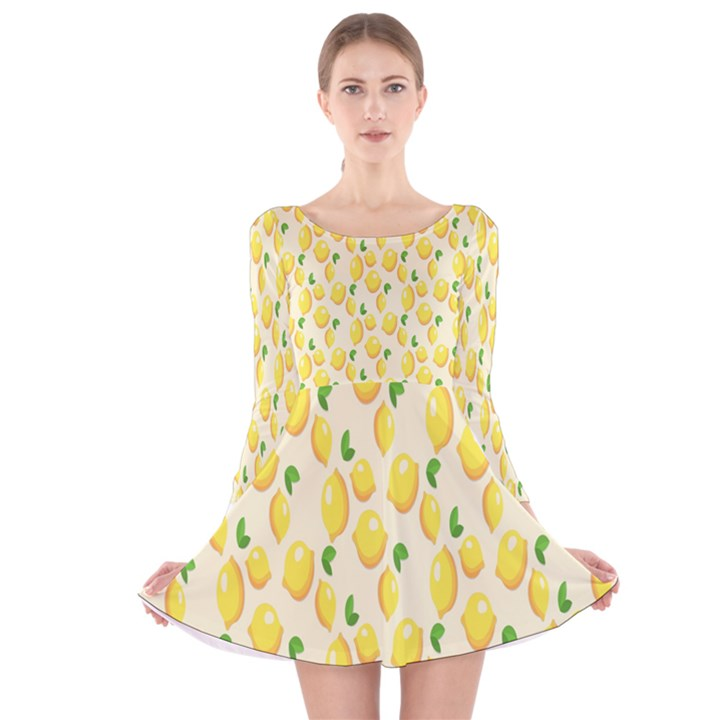 Pattern Template Lemons Yellow Long Sleeve Velvet Skater Dress
