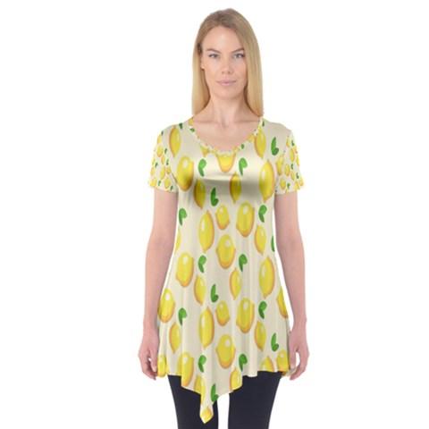Pattern Template Lemons Yellow Short Sleeve Tunic