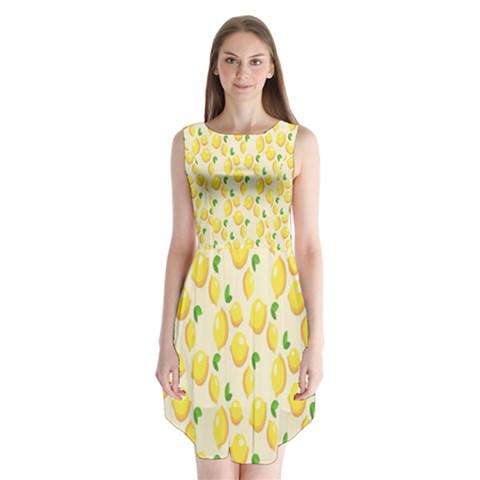 Pattern Template Lemons Yellow Sleeveless Chiffon Dress