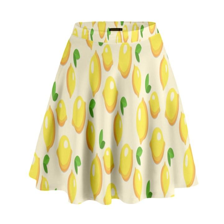 Pattern Template Lemons Yellow High Waist Skirt