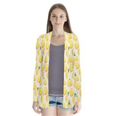 Pattern Template Lemons Yellow Drape Collar Cardigan
