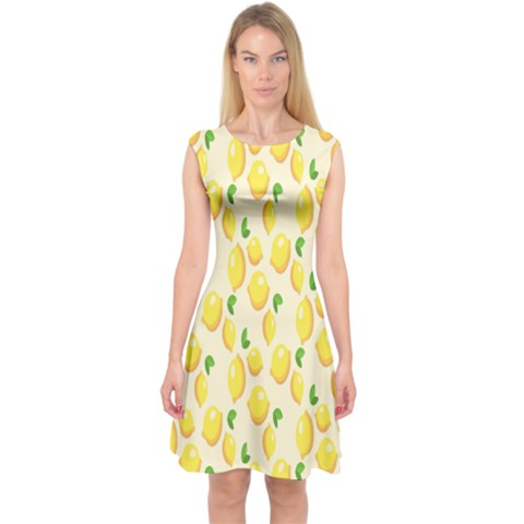 Pattern Template Lemons Yellow Capsleeve Midi Dress