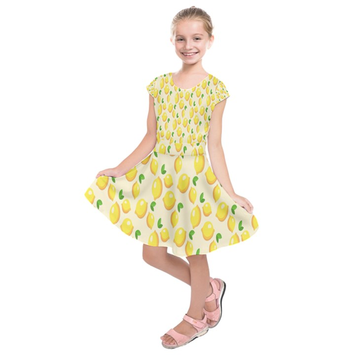 Pattern Template Lemons Yellow Kids  Short Sleeve Dress