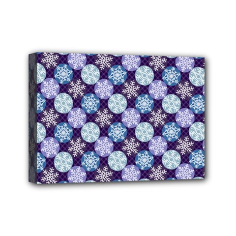 Snowflakes Pattern Mini Canvas 7  X 5