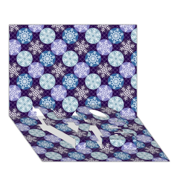 Snowflakes Pattern LOVE Bottom 3D Greeting Card (7x5)