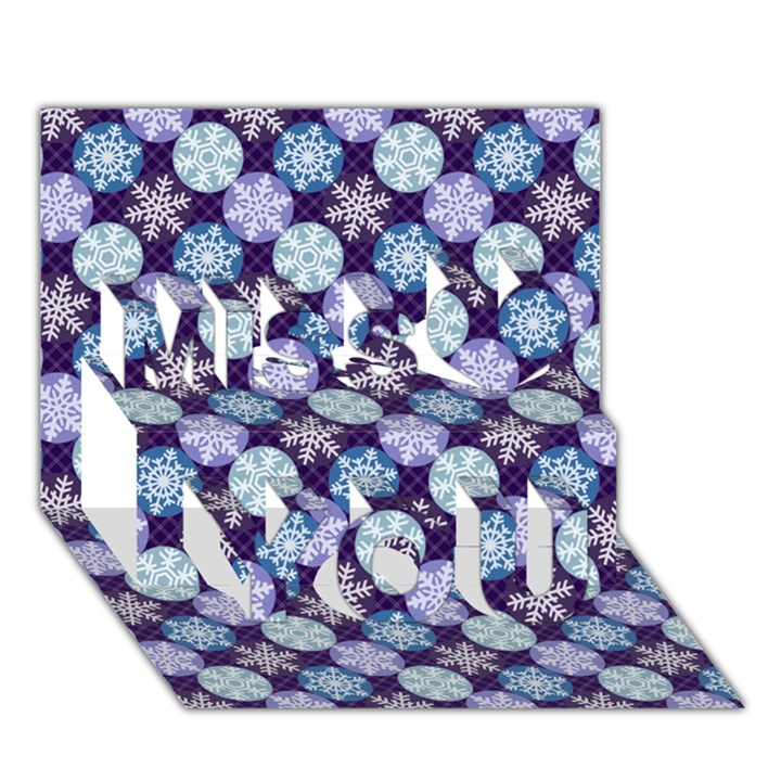 Snowflakes Pattern Miss You 3D Greeting Card (7x5)