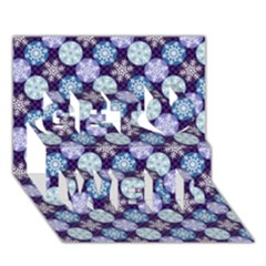 Snowflakes Pattern Get Well 3d Greeting Card (7x5)