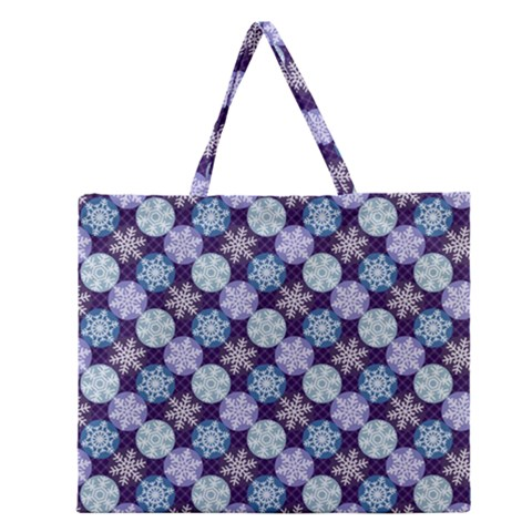 Snowflakes Pattern Zipper Large Tote Bag