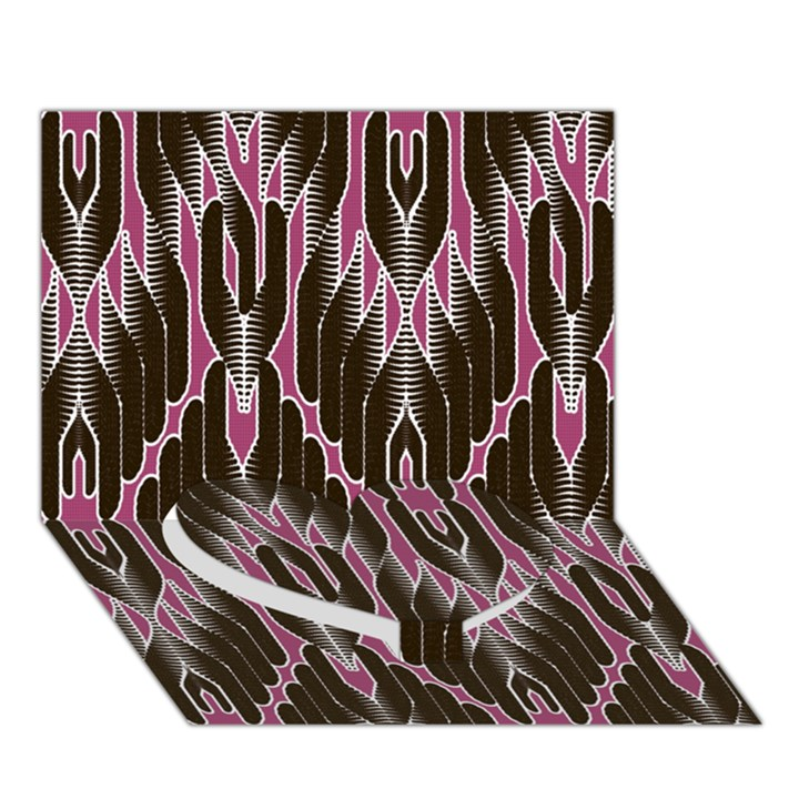 Pearly Pattern  Heart Bottom 3D Greeting Card (7x5)