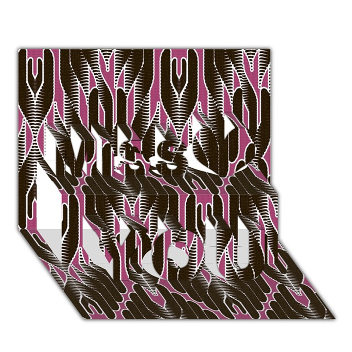 Pearly Pattern  Miss You 3D Greeting Card (7x5)