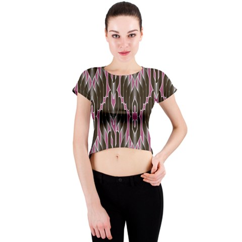 Pearly Pattern  Crew Neck Crop Top