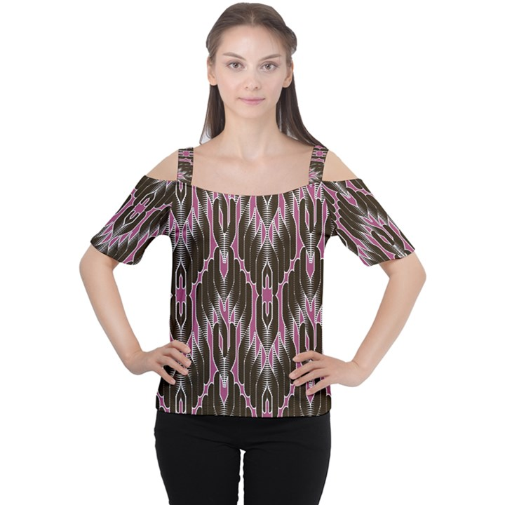 Pearly Pattern  Women s Cutout Shoulder Tee