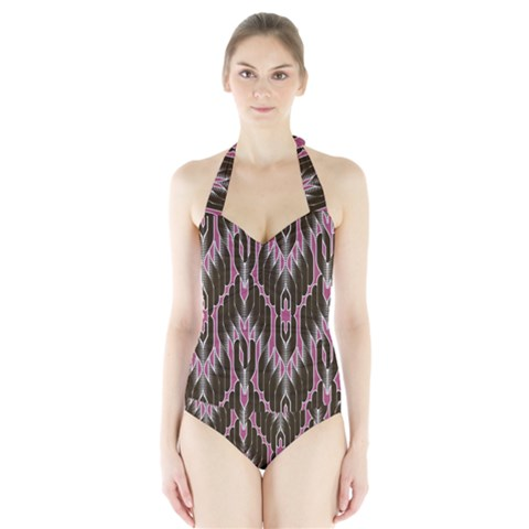 Pearly Pattern  Halter Swimsuit
