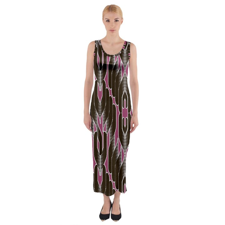 Pearly Pattern  Fitted Maxi Dress