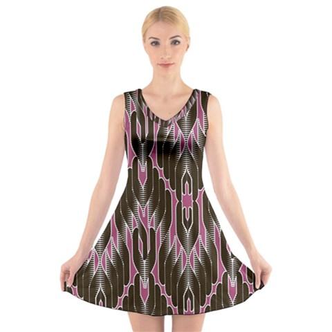 Pearly Pattern  V-Neck Sleeveless Skater Dress
