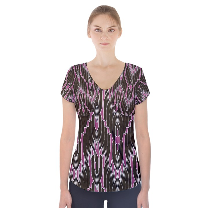 Pearly Pattern  Short Sleeve Front Detail Top