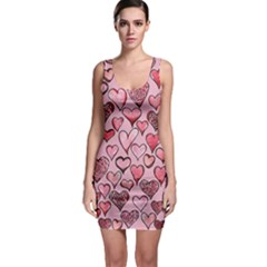 Artistic Valentine Hearts Sleeveless Bodycon Dress