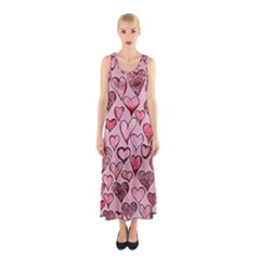 Artistic Valentine Hearts Sleeveless Maxi Dress