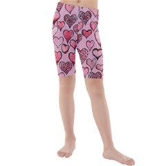 Artistic Valentine Hearts Kids  Mid Length Swim Shorts