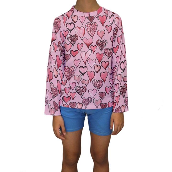 Artistic Valentine Hearts Kids  Long Sleeve Swimwear