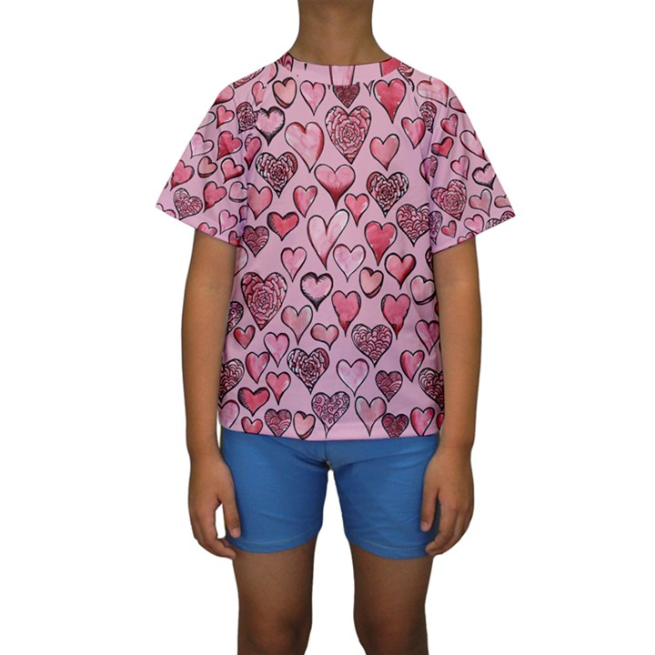 Artistic Valentine Hearts Kids  Short Sleeve Swimwear
