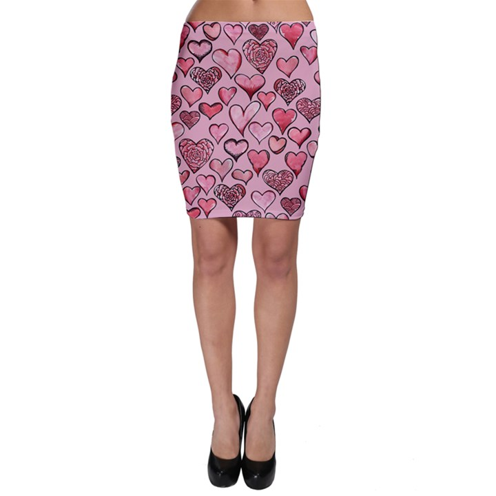 Artistic Valentine Hearts Bodycon Skirt
