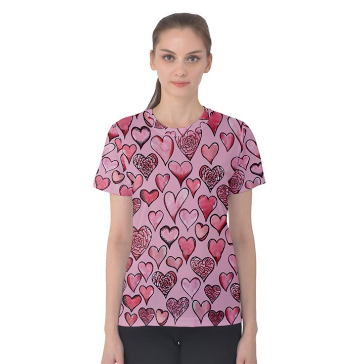 Artistic Valentine Hearts Women s Cotton Tee